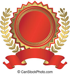Red and golden award with ribbon (vector)