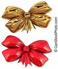 Red and golden bow isolated on white background