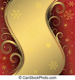 Red christmas background with gold frame and snowflakes (vector)
