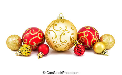 Red and golden Christmas balls on a white background.