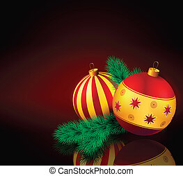 Christmas baubles with fir branch