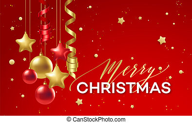 Red and Golden Christmas decoration. Vector illustration