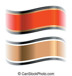 red and golden glossy ribbons