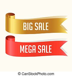 red and golden sale ribbons banner