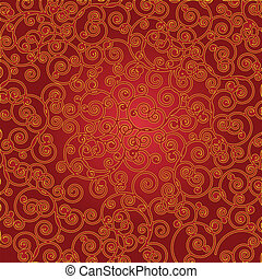 Red and golden scroll background