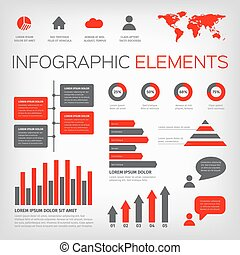 red and gray colour infographics