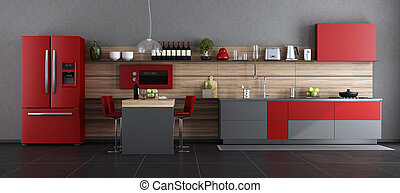 Red and gray contemporary kitchen with island and barstool -...