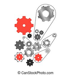 red and gray gears signs icon