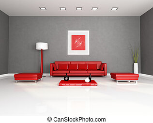 red and gray minimalist interior - rendering - the art picture on wall is a my abstract composition