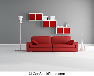 red and gray lounge