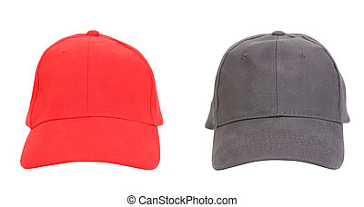 Red and Gray working peaked caps.