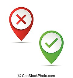 Red and green 3d pointer with confirmation and rejection icon, vector illustration