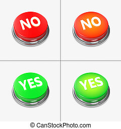 Red and Green Alert Buttons with the captions Yes and No.