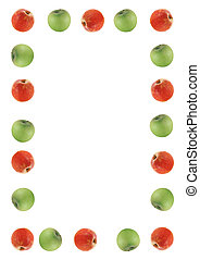 fruit border made out of red and green apples