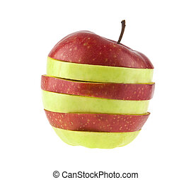 red and green apple cut isolated on a white background
