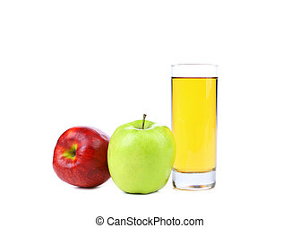 red and green apple with juice isolated on white