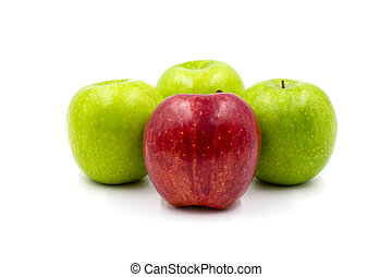 Red and Green Apples isolated on white background.
