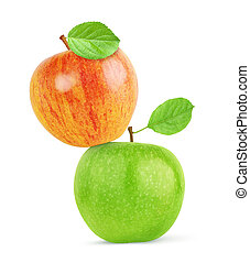 red and green apples isolated with clipping path