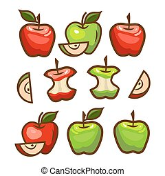 red and green apples set