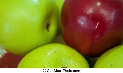 Red and green apples - My favorite apples. Selective focus...