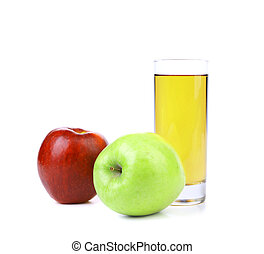 Red and green apples with juice
