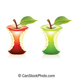 Red and green bitten apple vector illustration
