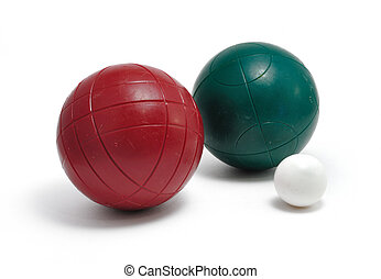 Red and Green Bocce Balls and Pallino (Jack or Boccino)...