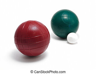 Red and Green Bocce Balls and Pallino (Jack or Boccino) -...