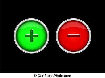 Red and green buttons with plus and minus signs