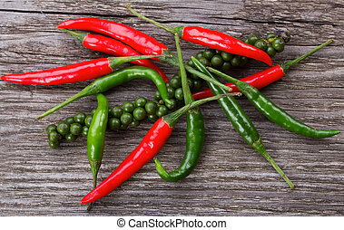 red and green chili pepper