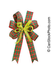 Red and green Christmas gift plaid bow