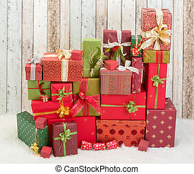 Red and green christmas presents