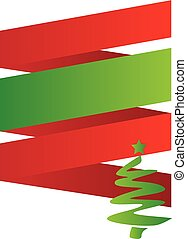 Red and Green Christmas Ribbon Poster Background