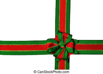 Red and green christmas ribbon