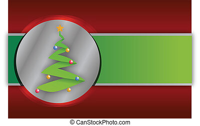 Red and green christmas tree background