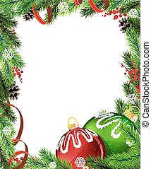 Red and green Christmas tree decorations with red ribbon