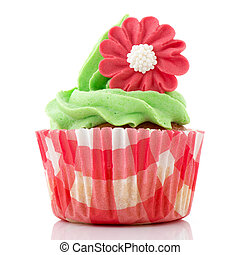 Red and green cupcake