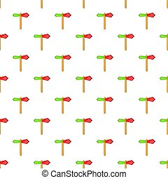 Red and green direction sign pattern cartoon style