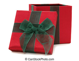 Red and Green Fabric Gift Box
