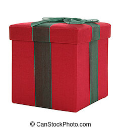 Red and Green Fabric Gift Box - Red and green fabric gift...