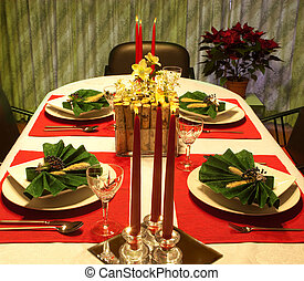 Red and green festive table