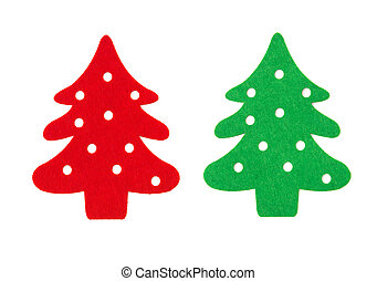 red and green flat christmas trees on a white background