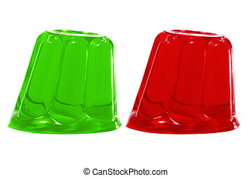 gelatin -  red and green gelatin on a white background