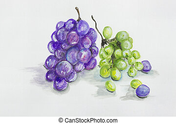 Red and green grapes fruits