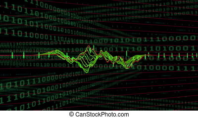 Red and green graphs moving against binary number data ...