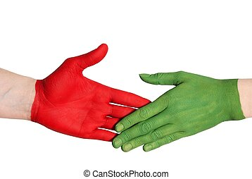 red and green handshake