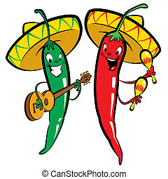 Red and green hot chili character peppers music group - Red...