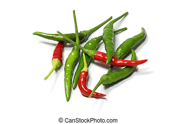 red and green hot chili pepper isolated on a white background