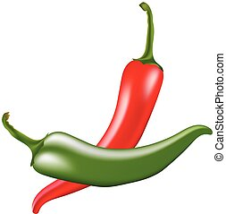 Red and green hot chili peppers on white background