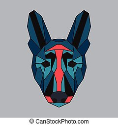Red and green low poly dog